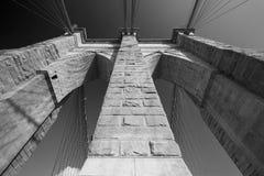 Brooklyn Bridge pillar low angle view, New York Royalty Free Stock Image