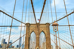 Brooklyn bridge pillar, New York City Stock Image