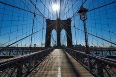 Brooklyn bridge pillar, New York City, USA Royalty Free Stock Image