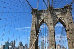 Brooklyn Bridge pylon and Manhattan Stock Images