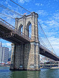 Brooklyn Bridge. Section of the Brooklyn Bridge from the Hudson stock photo