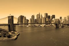 Brooklyn Bridge in sepia Stock Image
