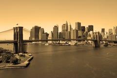 Brooklyn Bridge in sepia stock image