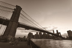 Brooklyn Bridge in sepia tone Stock Photo