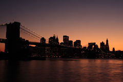 Brooklyn Bridge silhouette Stock Photos