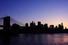 Brooklyn Bridge silhouette Royalty Free Stock Photography