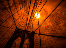 Brooklyn bridge silhouette Royalty Free Stock Photos