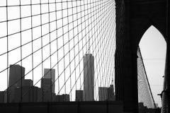 Brooklyn Bridge. Silhouette of Brooklyn Bridge and Manhattan Stock Photo