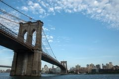 Brooklyn Bridge sky clouds and Brooklyn side buildings. Good condition stock image