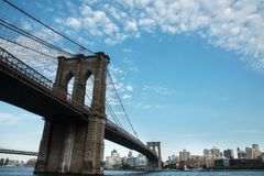 Brooklyn Bridge sky clouds and Brooklyn side buildings. Good condition royalty free stock photos