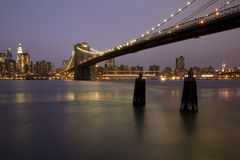 Brooklyn Bridge and Skyline of Manhattan Royalty Free Stock Photos