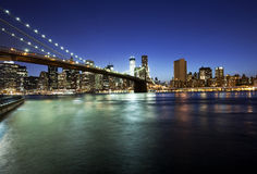Brooklyn bridge and skyline at night Stock Image