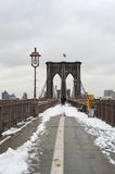 Brooklyn Bridge with Snow. Snowy Scene featuring Brooklyn and its Tower Royalty Free Stock Photos
