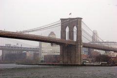 Brooklyn Bridge in a snow storm Royalty Free Stock Photo