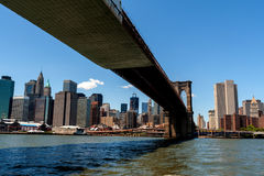 Brooklyn Bridge spanning across the East River from Lower Manhat. The underside of the Brooklyn Bridge as seen from the Brooklyn side of the East River. As a Stock Image