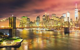 Brooklyn Bridge spans the East River towards Lower Manhattan in. New York City royalty free stock image
