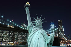 Brooklyn Bridge and The Statue of Liberty Stock Photography