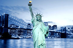 Brooklyn Bridge and The Statue of Liberty Royalty Free Stock Images