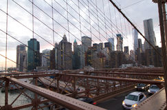 Brooklyn bridge structure in front of manhattan skyline. Brooklyn bridge structure in front of manhattan skyline, New York Stock Photos