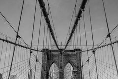 Brooklyn Bridge structure in Monochrome. Brooklyn Bridge structure with the ropes used for suspension in Monochrome Royalty Free Stock Photo