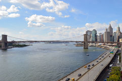 Brooklyn Bridge at sunny day. Royalty Free Stock Photos