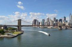 Brooklyn Bridge at sunny day. Stock Photos