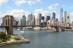 Brooklyn Bridge at sunny day. Manhattan skyline with Brooklyn Bridge at sunny day Stock Photography