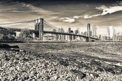 The Brooklyn Bridge on a sunny day. New York City, USA Stock Image