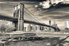 The Brooklyn Bridge on a sunny day. New York City, USA Royalty Free Stock Images