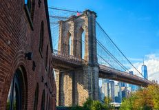 Brooklyn Bridge in sunny day taken from Brooklyn Bridge Park, New York City, United States.  royalty free stock photos