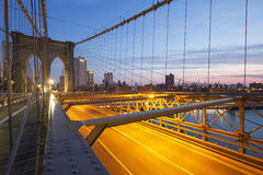 Brooklyn Bridge at sunrise. Stock Image