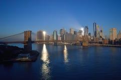 Brooklyn Bridge at sunrise. Manhattan skyline with Brooklyn Bridge at sunrise Royalty Free Stock Image