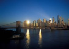 Brooklyn Bridge at sunrise. Royalty Free Stock Image