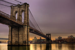 Brooklyn Bridge. At Sunrise - New York City, NY, USA royalty free stock photography