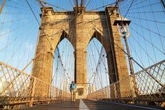 Brooklyn Bridge at sunrise, New York City Stock Photos