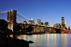 Brooklyn Bridge after sunset Stock Photo