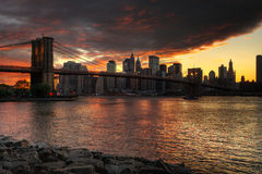 Brooklyn Bridge Sunset Royalty Free Stock Photography