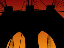 Brooklyn bridge at sunset Stock Photography