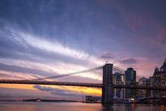 Brooklyn Bridge at sunset Royalty Free Stock Images