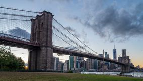 Brooklyn bridge during sunset stock video footage