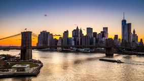 Brooklyn Bridge at sunset stock footage
