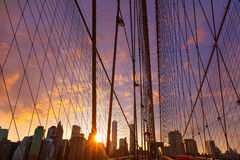 Brooklyn Bridge sunset with Manhattan skyline US Royalty Free Stock Photography