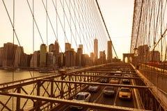 Brooklyn Bridge sunset with Manhattan skyline US Royalty Free Stock Photo