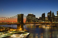 Brooklyn Bridge at Sunset in New York City Royalty Free Stock Photos