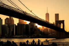 Brooklyn bridge at sunset Stock Image