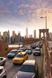 Brooklyn Bridge sunset New York Manhattan Royalty Free Stock Photo