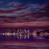 Brooklyn Bridge sunset New York Manhattan Royalty Free Stock Photos