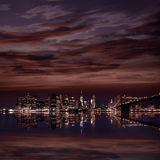 Brooklyn Bridge sunset New York Manhattan Royalty Free Stock Images