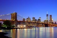 Brooklyn Bridge sunset New York Manhattan Stock Photo