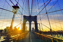 Brooklyn Bridge sunset New York Manhattan Stock Photo